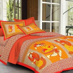 Orange Dhola Maru Print Cotton Double Bedsheet With Pillow Covers