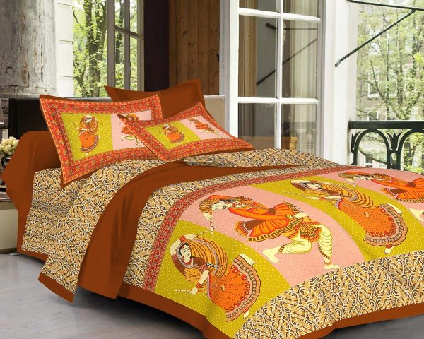 traditional sanganeri full size bedsheet