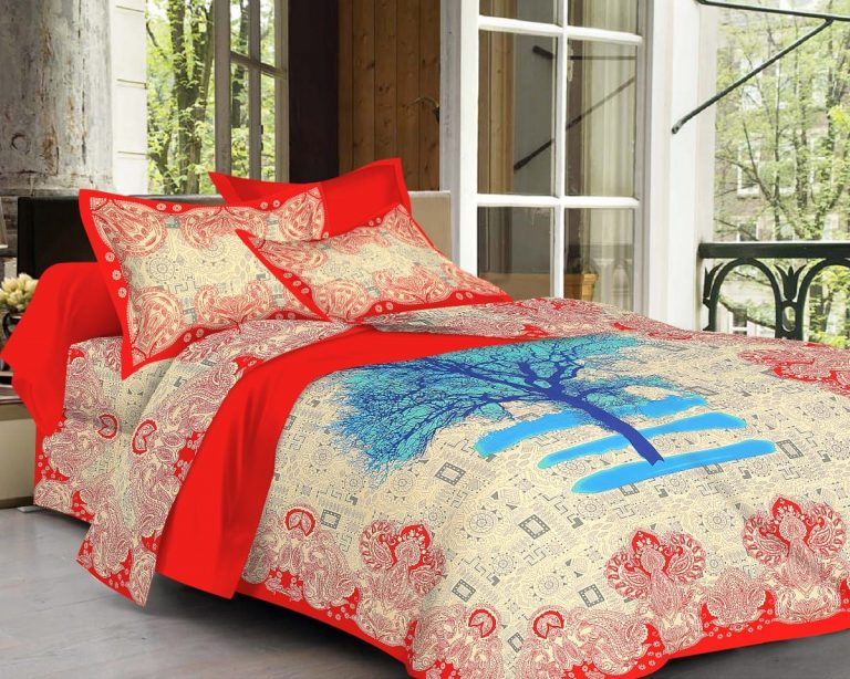 Red Tree Print Pure Cotton Double Bedsheet With Pillow Covers