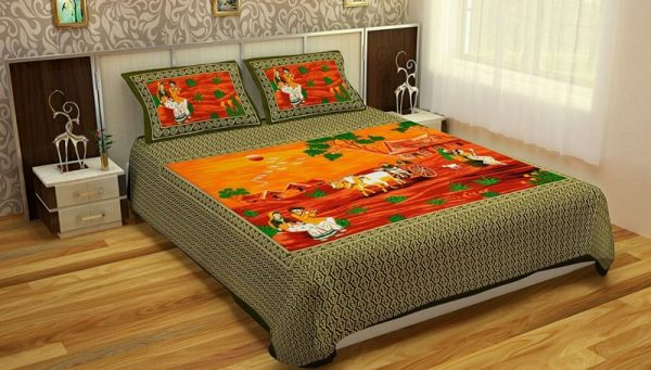 Green Village Print Cotton Double Bedsheet With Pillow Covers