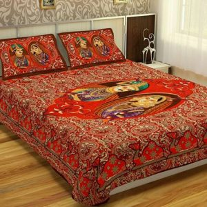 Red Maharaja Print Cotton Double Bed Sheets With Pillow Covers