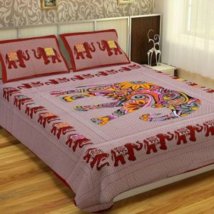 Maroon Animal Print Cotton Double Bedsheet With Pillow Covers