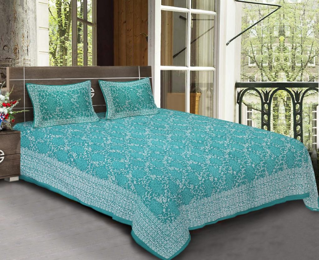 King Size Standard Turquoise Colour Cotton Rajasthani Bedsheet With Pillow Covers For Double Bed
