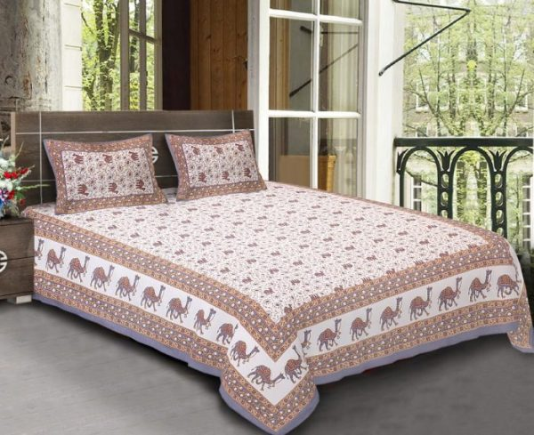 King Size Standard Cotton Camel Print Rajasthani Bedsheet With Pillow Covers For Double Bed