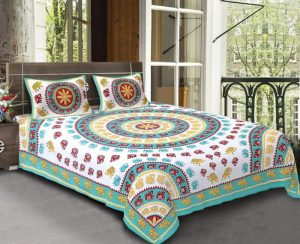 Turquoise King Size Standard Cotton Elephant Print Sanganeri Bed Sheet With Pillow Covers
