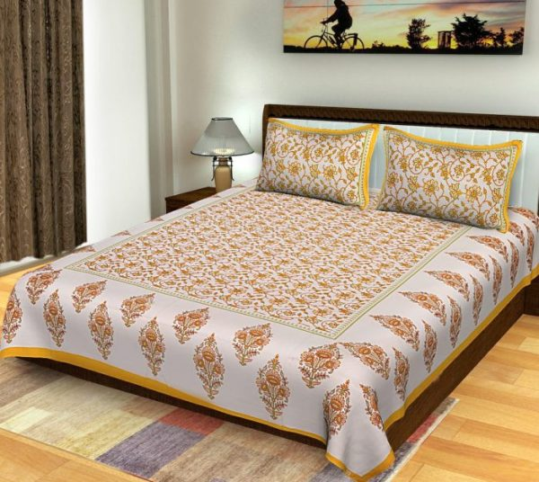 Sanganeri Print Boota Pattern King Size Standard Bedsheet Cotton With Pillow Covers For Double Bed