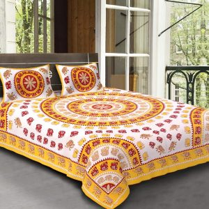 rajasthani bedsheets double bed with pillow covers