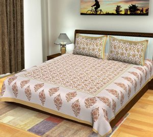 sanganeri print Sanganeri Print Boota Pattern Bedsheet Cotton With Pillow Covers For Double Bed
