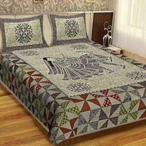Best Designer kingsize Bed sheets King Size Cotton Dhola Maru Print Bedsheet With 2 Pillow Covers For Double Bed