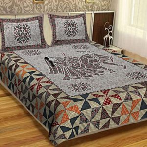 bed sheets full size Cotton Barmeri Dhola Maru Print King Size Bedsheet With Pillow Covers For Double Bed