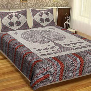 bed sheets for double bed Cotton Tree Print Barmeri Cotton Double Bed sheet With Pillow Cover For Double Bed