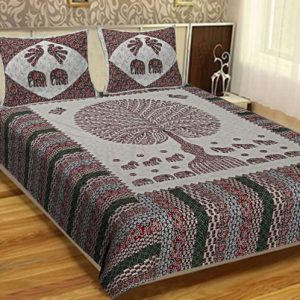 bedsheets for double bed cotton Cotton Barmeri King Size Bedsheet With 2 Pillow Covers For Double Bed