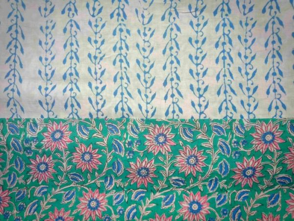 hand block printed cotton suit with chiffon dupatta