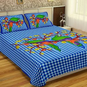 Cotton king size bed sheet with pillow covers