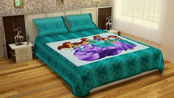 Sea Green Pure Cotton Fairy Print Double Bedsheet With Pillow Covers