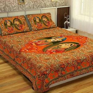 Cotton king size bed sheet with pillow