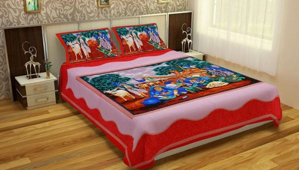 Red Pure Cotton Village Print Double Bedsheet With PIllow Covers
