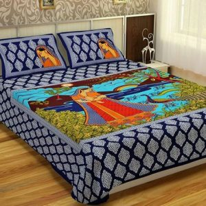 Blue Women Print Double Cotton Bedesheet With Pillow Covers