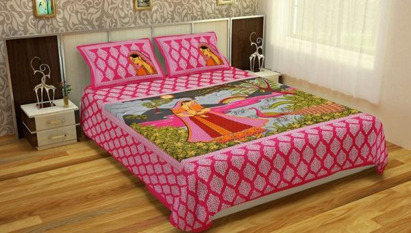 Pink Women Print Cotton Double Bedsheet With Pillow Covers