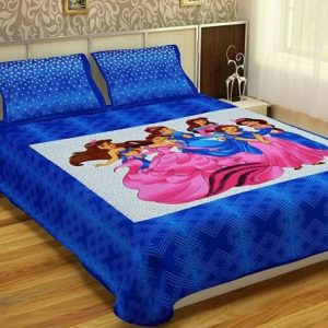 Blue Fairy Print Cotton Double Bedsheet With Pillow Covers