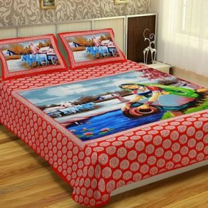 Red Women Print Cotton Double Bedsheet With Pillow Covers
