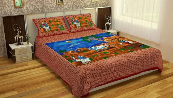 Maroon Village Print Pure Cotton Double Bedsheet With Pillow Covers