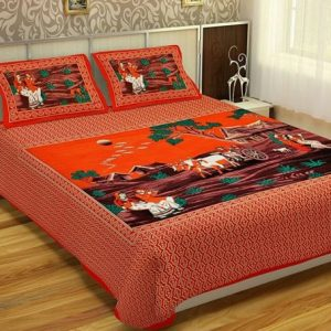 Orange Village Print Cotton Double Bedsheet With Pillow Covers
