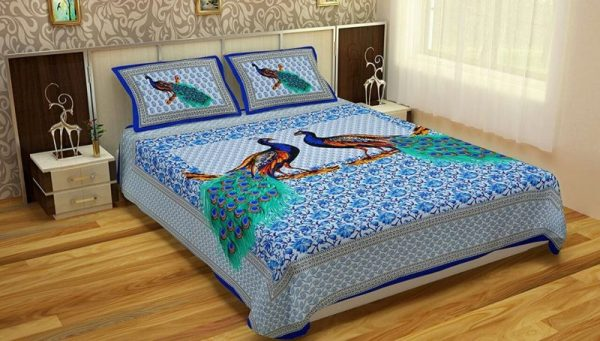 Blue Peacock Print Pure Cotton Double Bedsheet with Pilllow Covers
