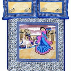 Blue Village Women Print Double Bedsheet With Pillow Covers