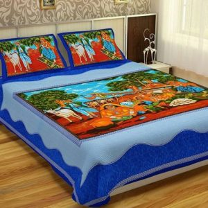 Blue Village Print Cotton Double Bedsheet With Pillow Cover