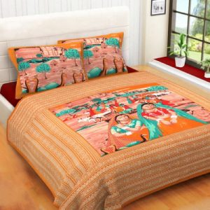 Orange Village Women Print Double Bedsheet With Pillow Covers