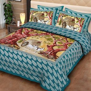King size double bedsheet with pillow cover cotton