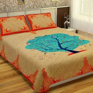 Orange Cotton Tree Print Double Bedsheet With Pillow Covers