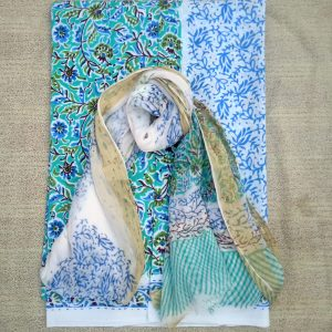Handblock printed cotton suit with chiffon dupatta