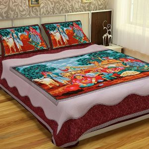 Cotton Dark Brown Women Printed Double Bedsheet With Pillow Covers