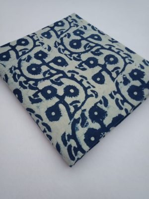 Indigo Floral Pattern Hand Block Printed Pure Cotton Fabric - JBR97