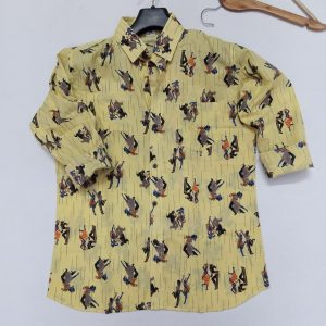 Hand Block Printed Men's Full Sleeve Cotton Shirt