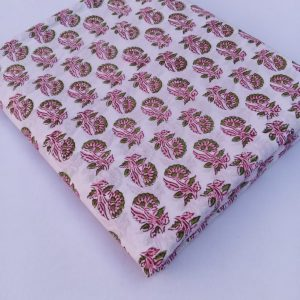 Hand Block Printed Small Buti Print Pure Cotton Fabric