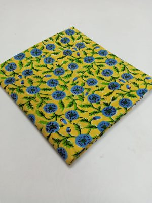 Floral Pattern Block Printed Cotton Fabric
