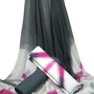 Pink & Grey Tye Dye Pure Cotton Unstitched Suit With Chiffon Dupatta - JBGC31