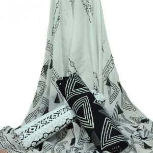 Black & White Geometric Print HandBlock Pure Cotton Unstitched Suit with Chiffon Dupatta - JBGC04
