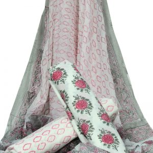 White Base Floral Print HandBlock Pure Cotton Unstitched Suit With Chiffon Dupatta - JBGC24