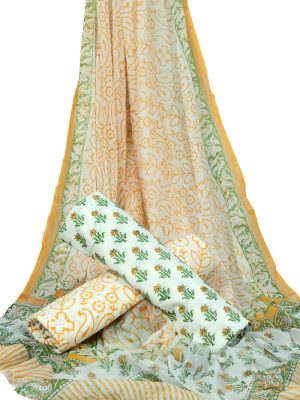 White Base Small Floral Booty Print HandBlock Pure Cotton Unstitched Suit With Chiffon Dupatta - JBGC21