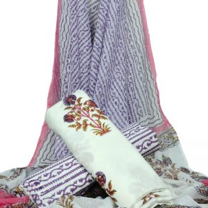 White Base Floral Print HandBlock Pure Cotton Unstitched Suit With Chiffon Dupatta - JBGC20