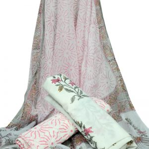 White Base Floral Print HandBlock Pure Cotton Unstitched Suit With Chiffon Dupatta - JBGC19