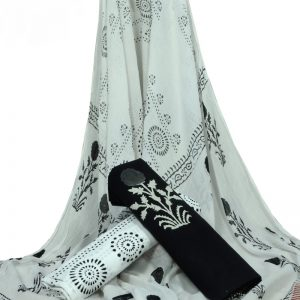 Black & White Floral Print HandBlock Pure Cotton Unstitched Suit with Chiffon Dupatta - JBGC01