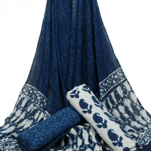 Indigo Blue Hand Block Printed Pure Cotton Unstitched Suit With Chiffon Dupatta - JBGC16