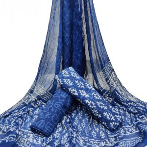 Indigo Blue Booty Print HandBlock Pure Cotton Unstitched Suit with Chiffon Dupatta - JBGC09