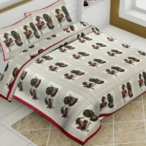 Off White Cotton King Size Dhola Maru Print Animal Pattern Barmeri Bedsheet With Two Pillow Covers - JBBB77