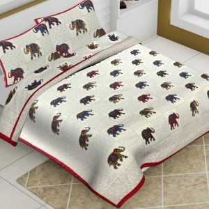 Off White Cotton King Size Elephant Print Animal Pattern Barmeri Bedsheet With Two Pillow Covers - JBBB76
